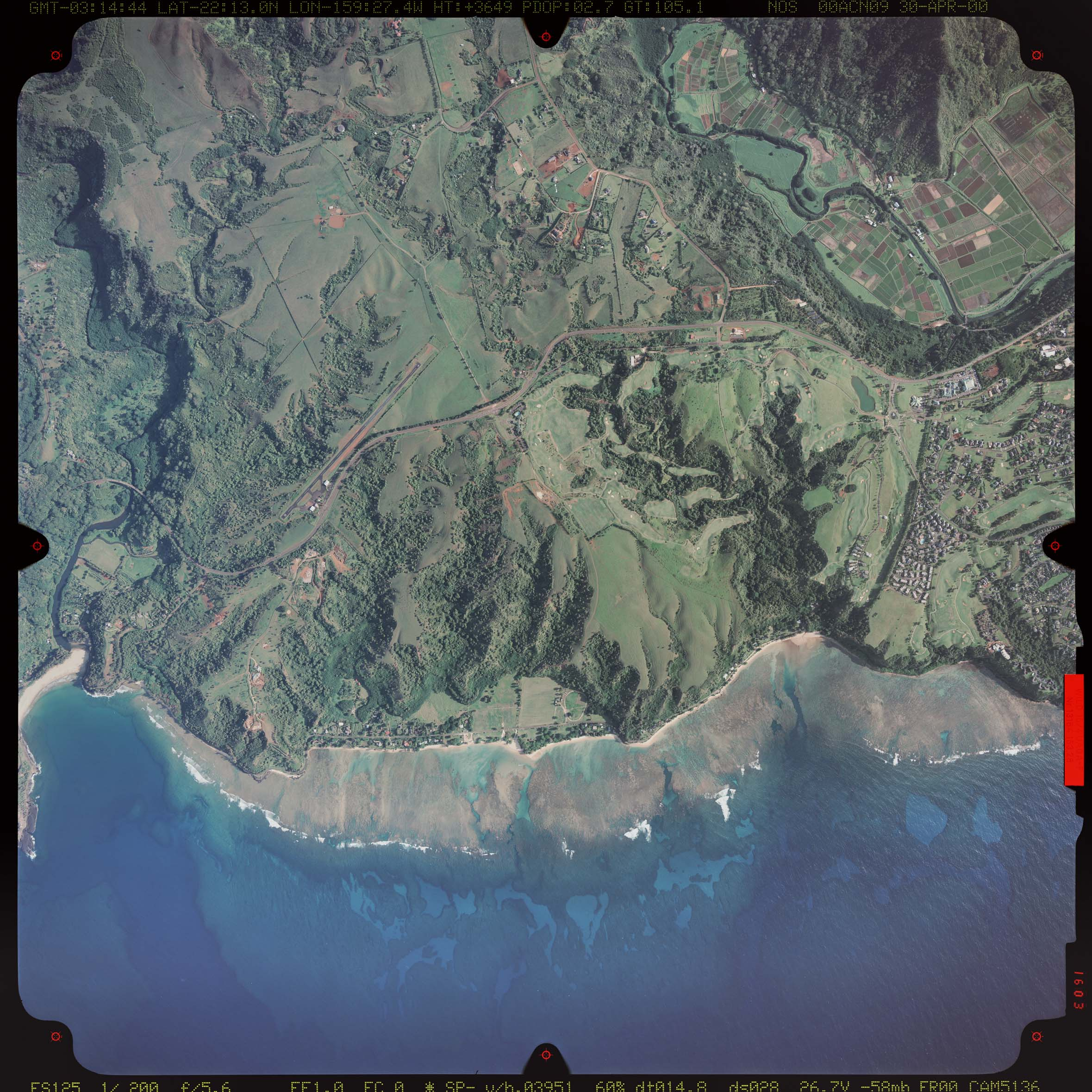 Aerial photograph of Princeville Airport taken in 2000