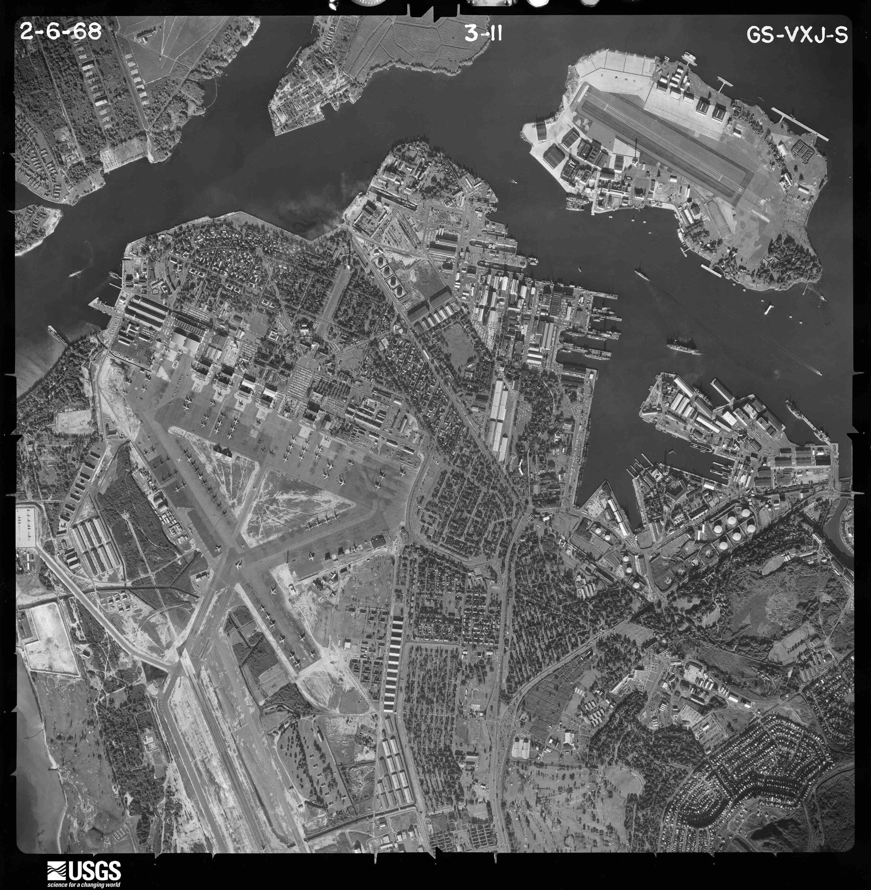 Aerial photograph of Hickam AFB and Ford Island, 1968
