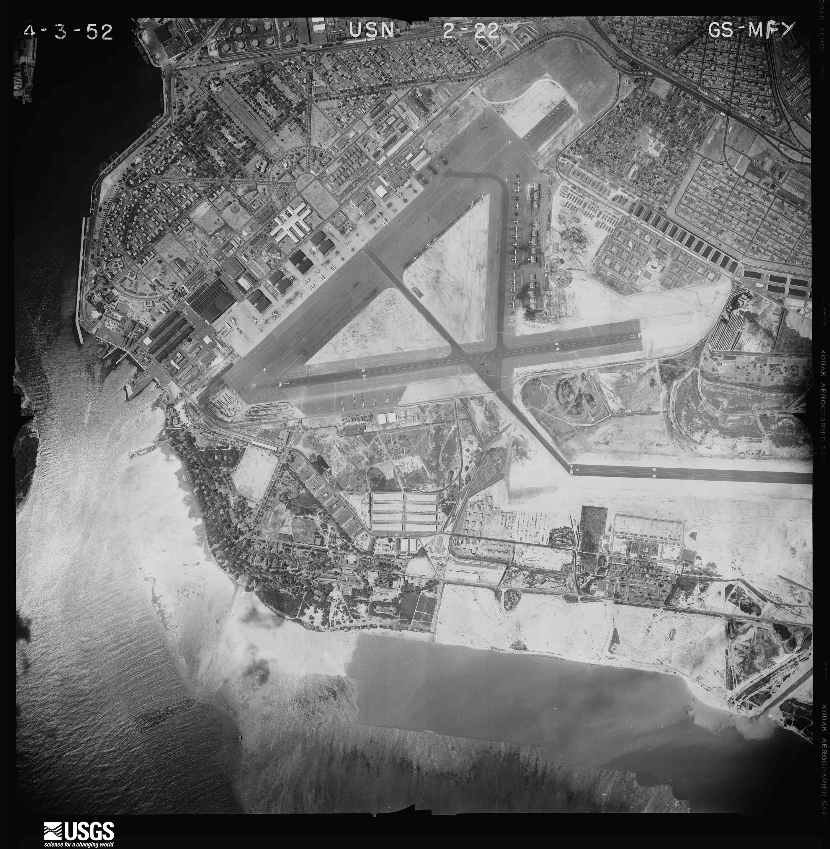 Aerial photograph of Hickam AFB, 1952