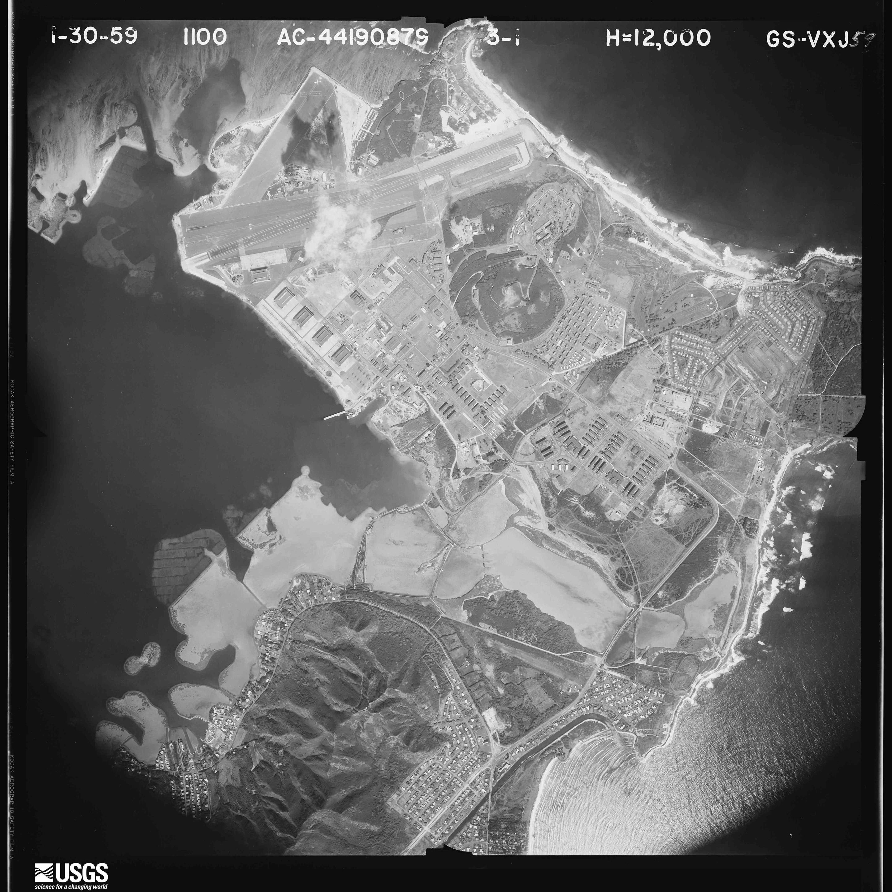 Aerial Photograph of Kaneohe MCAS in 1959